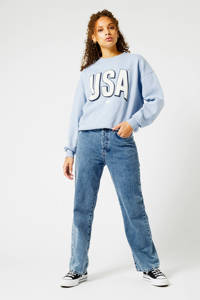 America Today sweater met printopdruk lichtblauw, Lichtblauw