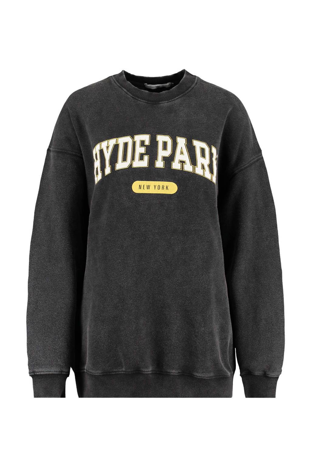 America Today oversized sweater Sadie met tekst washed black