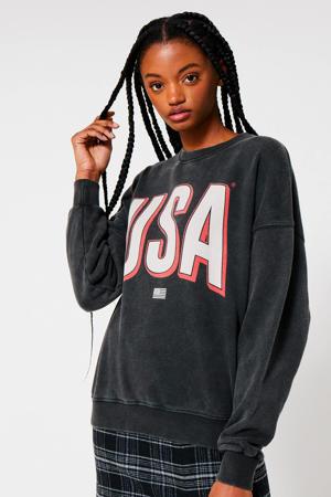 sweater met printopdruk zwart washed