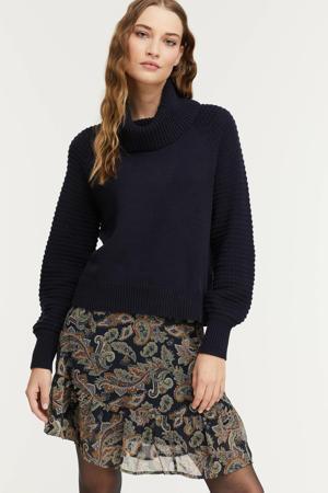 grofgebreide trui met biologisch katoen donkerblauw