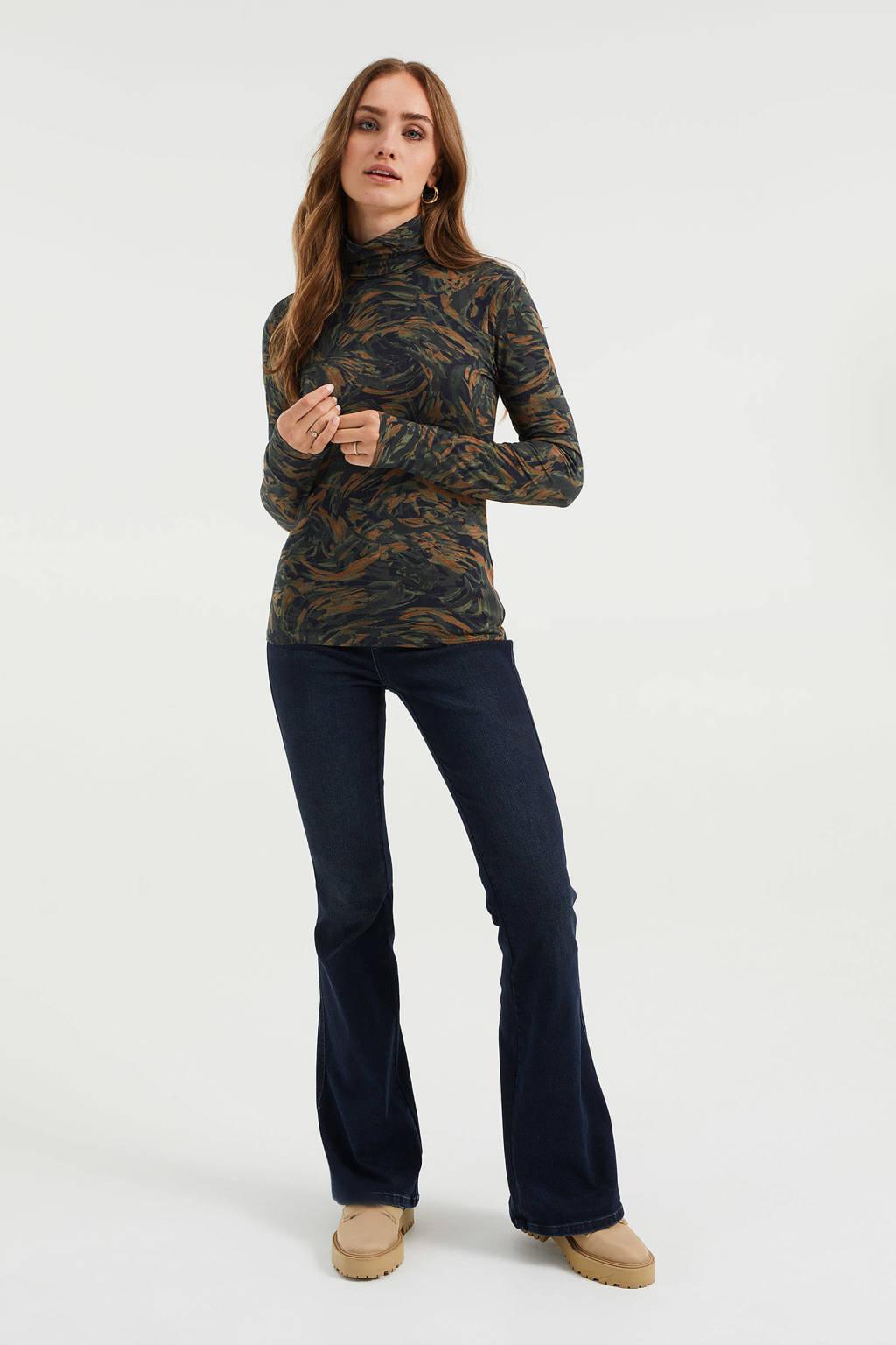 WE Fashion longsleeve met all over print groen/ bruin, Groen/ bruin