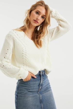 gebreide trui met katoen wit