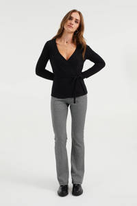 WE Fashion ribgebreide overslag top met ceintuur zwart, Zwart