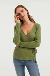 WE Fashion ribgebreide overslag top met ceintuur olijfgroen, Olijfgroen