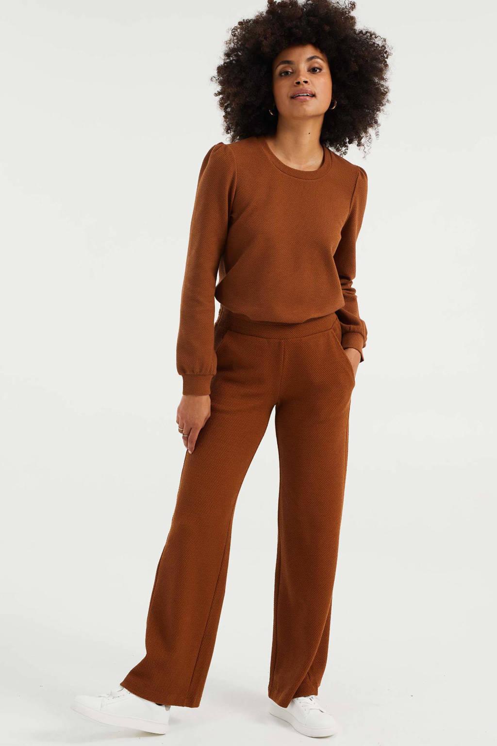 WE Fashion wide leg sweatbroek met textuur bruin, Bruin