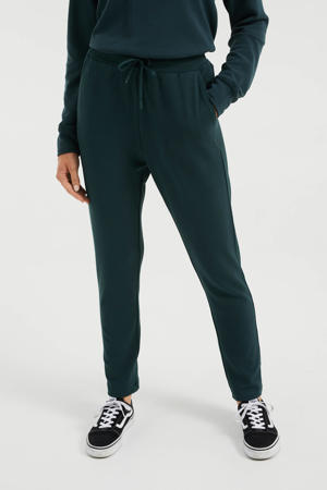straight fit broek met textuur donkergroen