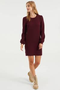 WE Fashion sweatjurk met textuur donkerrood, Donkerrood