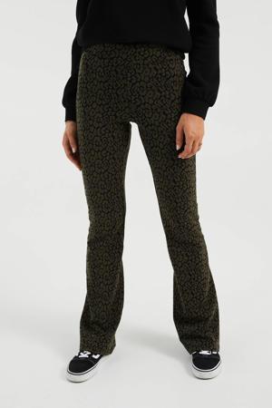 flared legging met dierenprint donkergroen/zwart