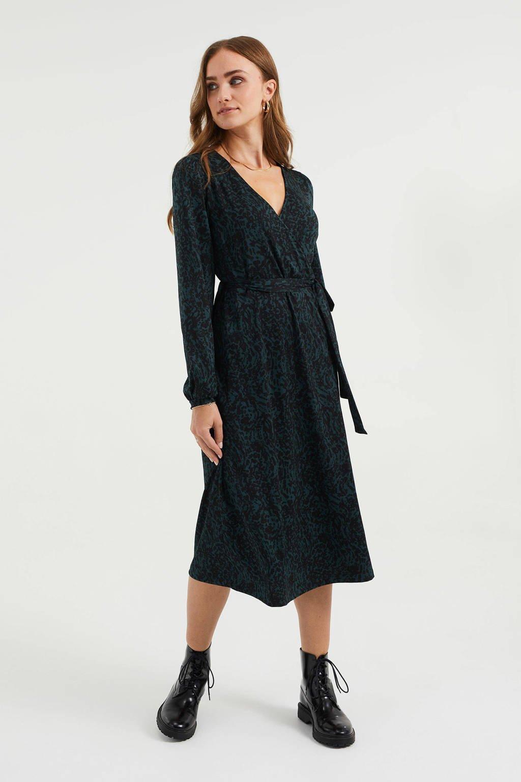 WE Fashion overslagjurk met all over print en plooien donkergroen/zwart, Donkergroen/zwart