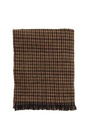 reversible sjaal met print zwart/camel