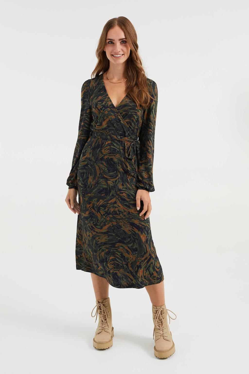 WE Fashion overslagjurk met all over print en plooien donkergroen/zwart/bruin, Donkergroen/zwart/bruin