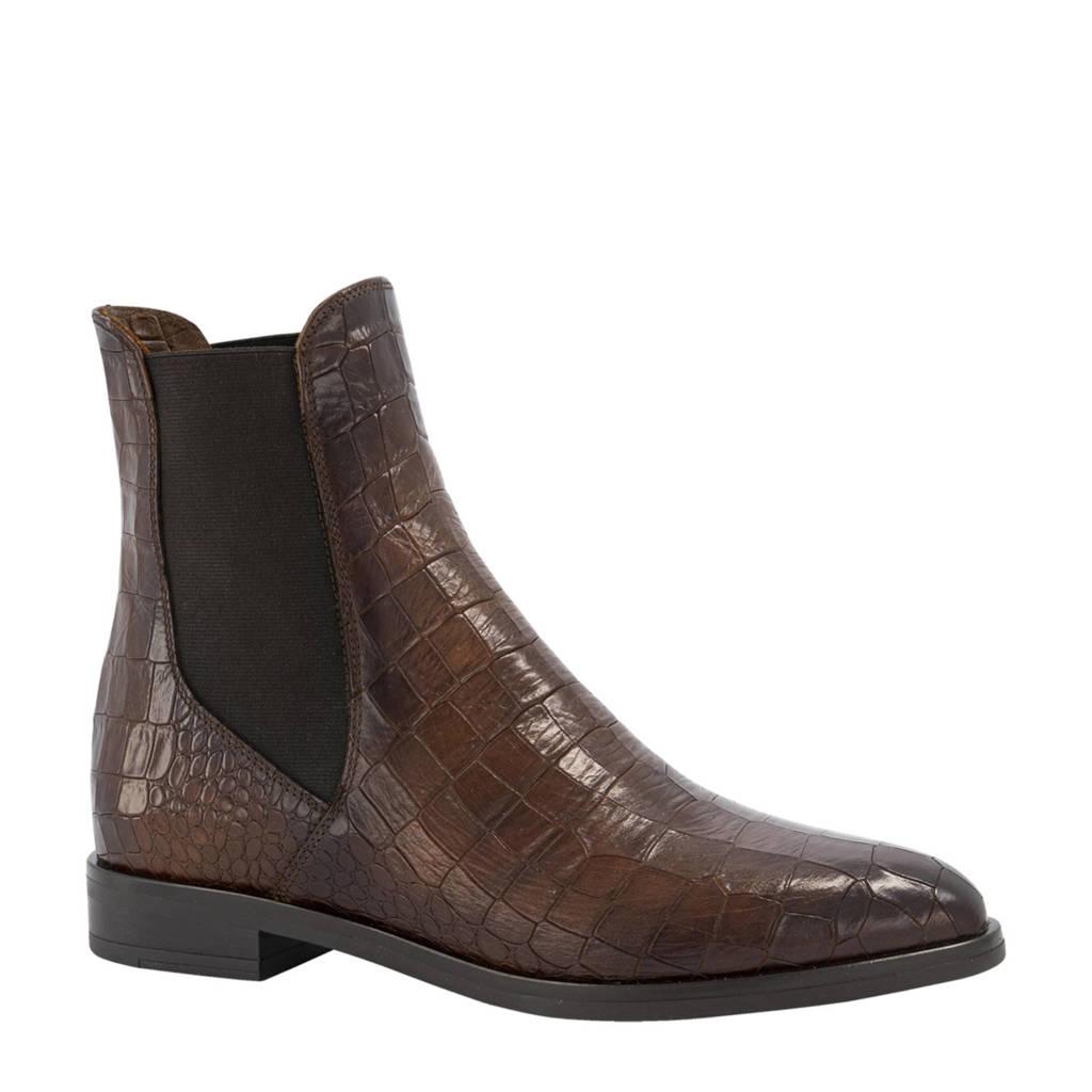 5th Avenue   leren chelsea boots met crocoprint bruin, Bruin
