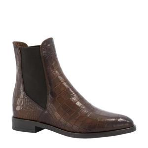 leren chelsea boots met crocoprint bruin