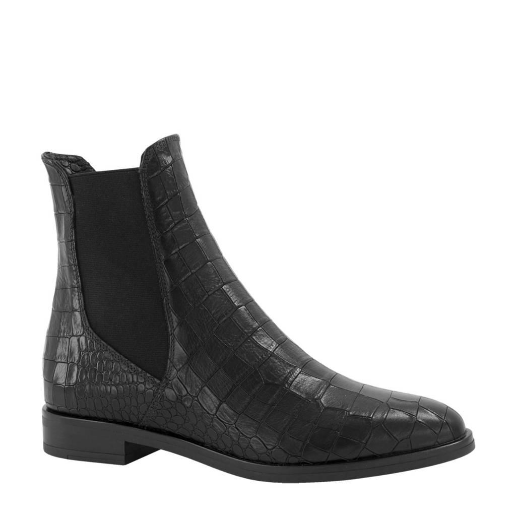 5th Avenue   leren chelsea boots met crocoprint zwart, Zwart