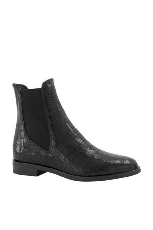 leren chelsea boots met crocoprint zwart