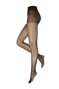 WE Fashion panty met stippen 30 denier zwart, Zwart