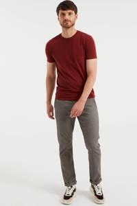 WE Fashion slim fit T-shirt garnet, Garnet