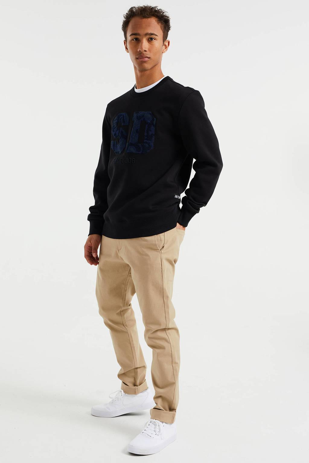 WE Fashion Salty Dog sweater met logo en 3D applicatie black uni, Black Uni