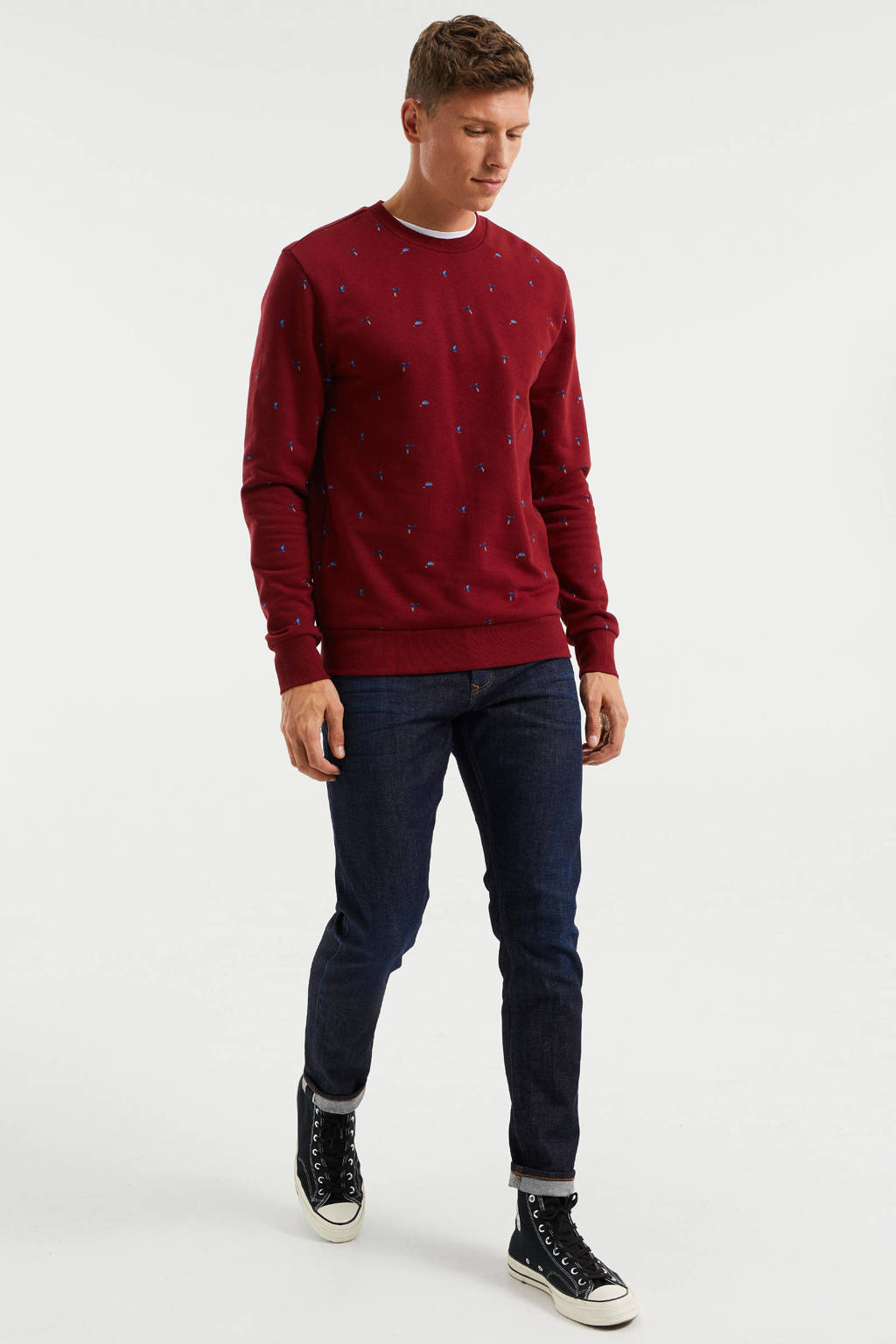 WE Fashion sweater met all over print dark bloody mary, Dark Bloody Mary