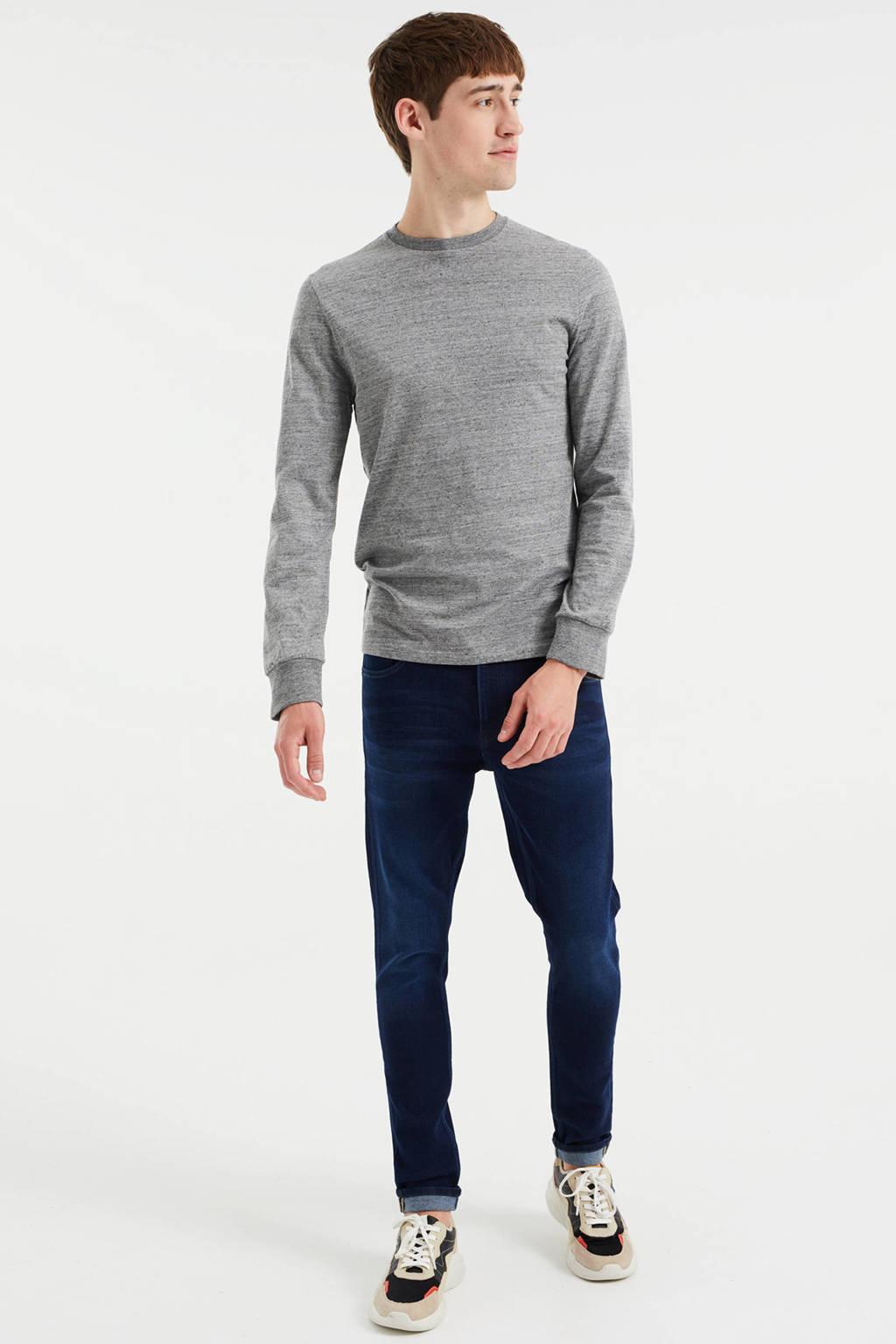 WE Fashion gemêleerde slim fit longsleeve dark grey melange, Dark Grey Melange