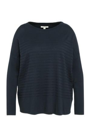 fijngebreide trui met biologisch katoen donkerblauw
