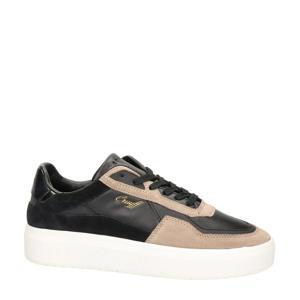 Mosaic  leren sneakers zwart/beige