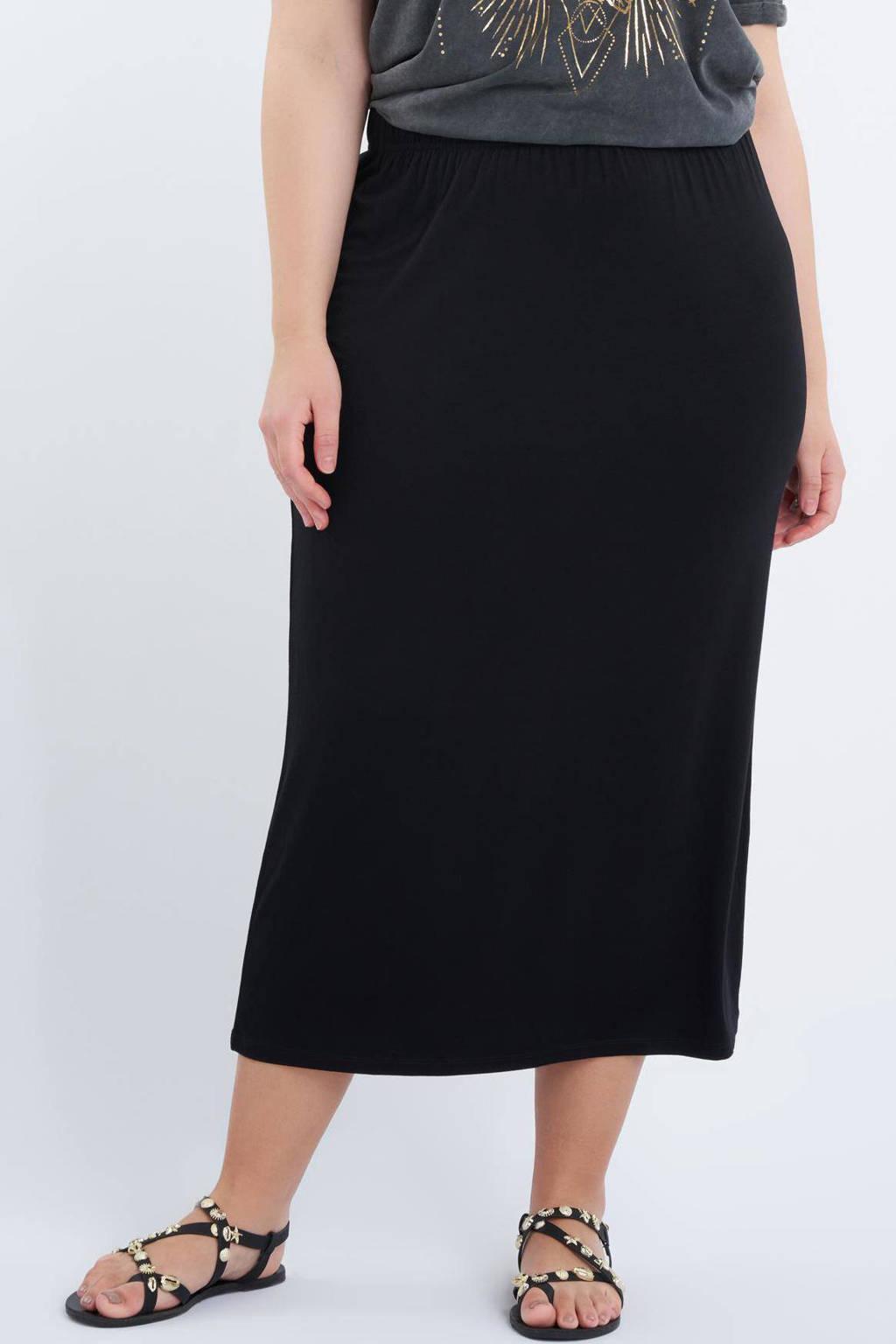 MS Mode midi rok zwart, Zwart