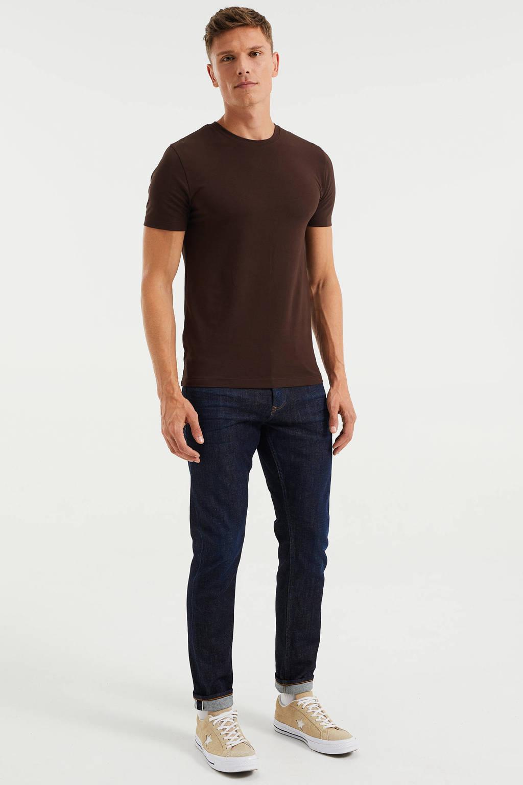 WE Fashion slim fit T-shirt rum, Rum