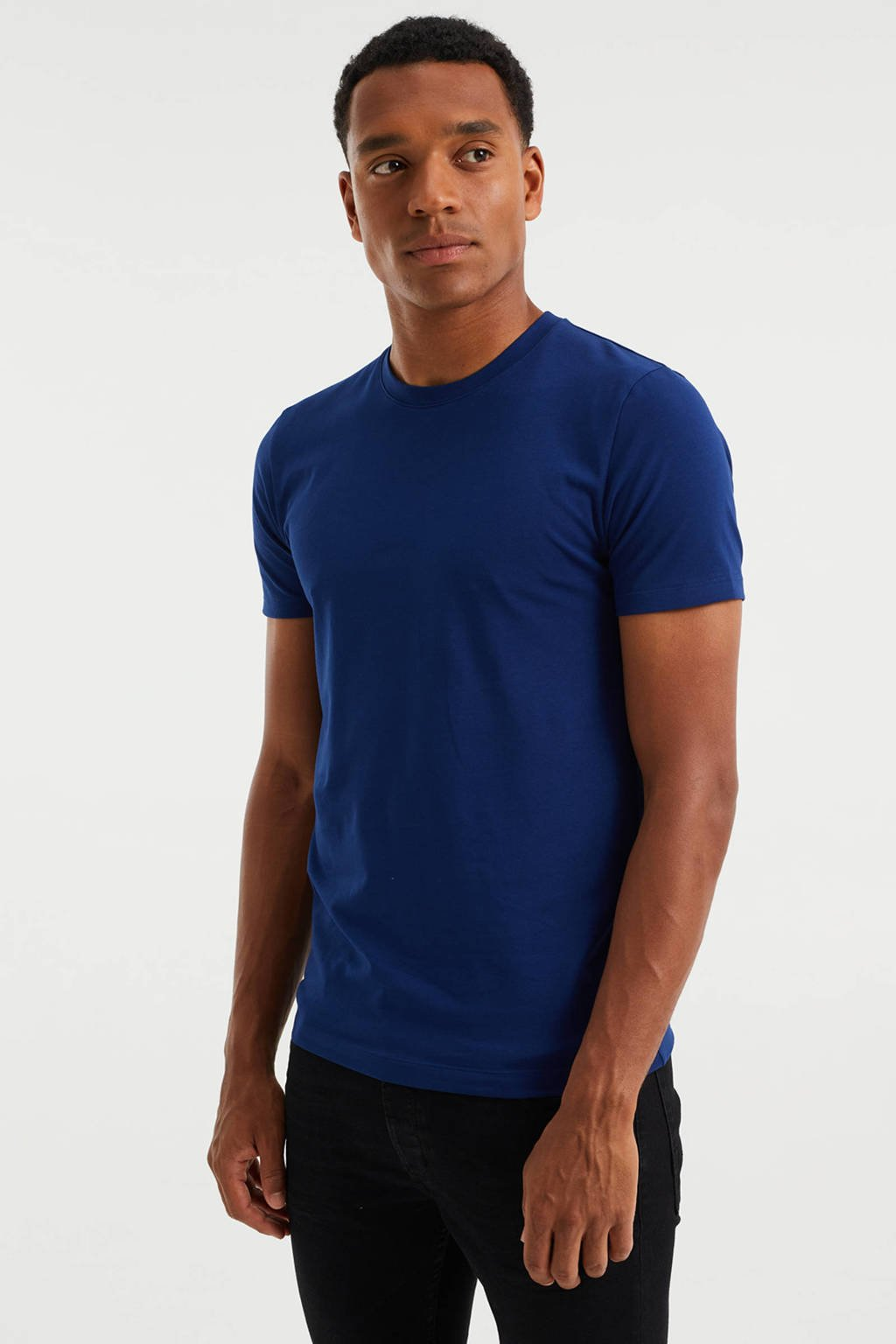WE Fashion slim fit T-shirt blue depth, Blue depth