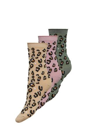 sokken ONLSANDRA met panterprint - set van 3 roze/groen/geel