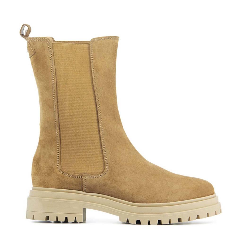 Red Rag 71238  hoge suède chelsea boots bruin, Bruin