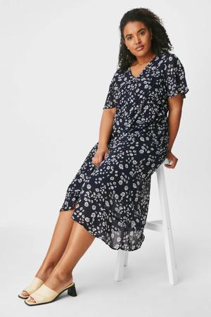 semi-transparante jurk van gerecycled polyester blauw