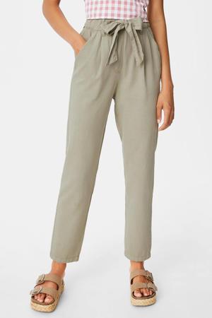 high waist tapered fit broek lichtgroen
