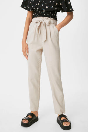 high waist tapered fit broek zand