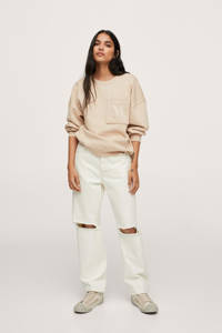 Mango sweater met borduursels beige, Beige