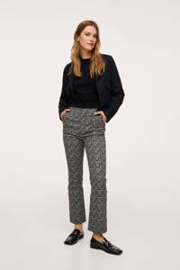 Mango high waist straight fit broek met all over print zwart/ecru, Zwart/ecru