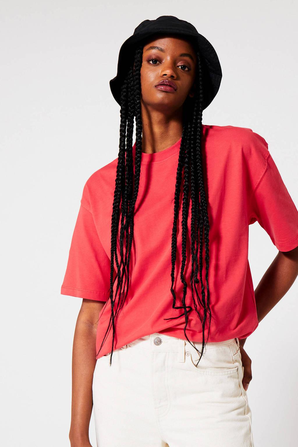 America Today oversized T-shirt Elva koraalrood, Koraalrood
