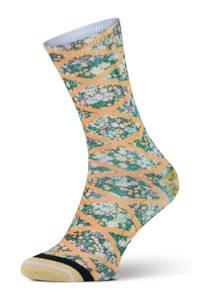XPOOOS sokken Versailles groen/oranje, Groen/oranje