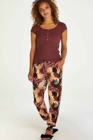 pyjamabroek met all over print donkerroze/geel