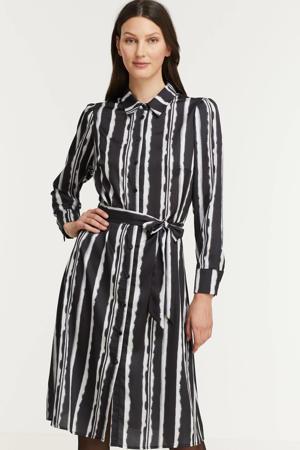 gestreepte blousejurk zwart/wit