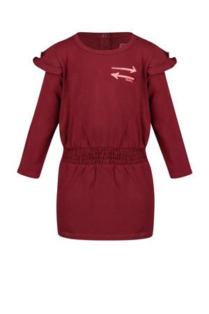 jurk Madeleine met printopdruk donkerrood