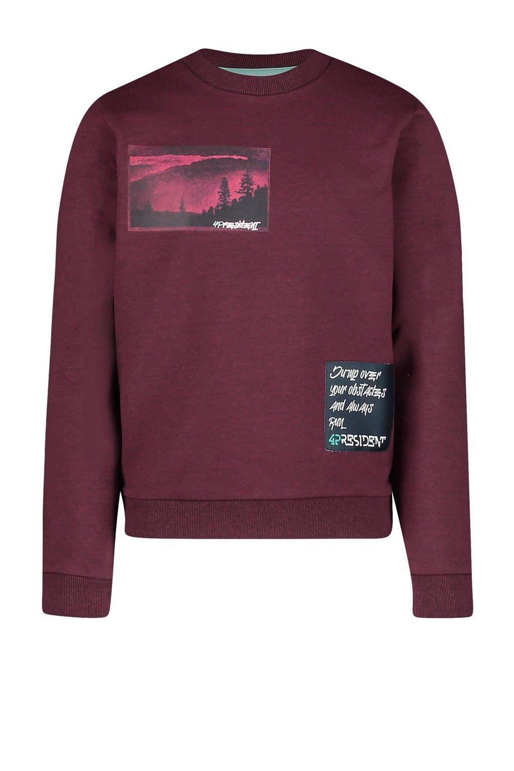 4PRESIDENT sweater Owen met printopdruk bordeaux, Bordeaux