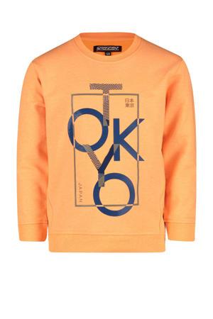 sweater Nev met printopdruk neon oranje