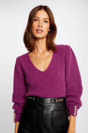 ribgebreide trui met plooien paars