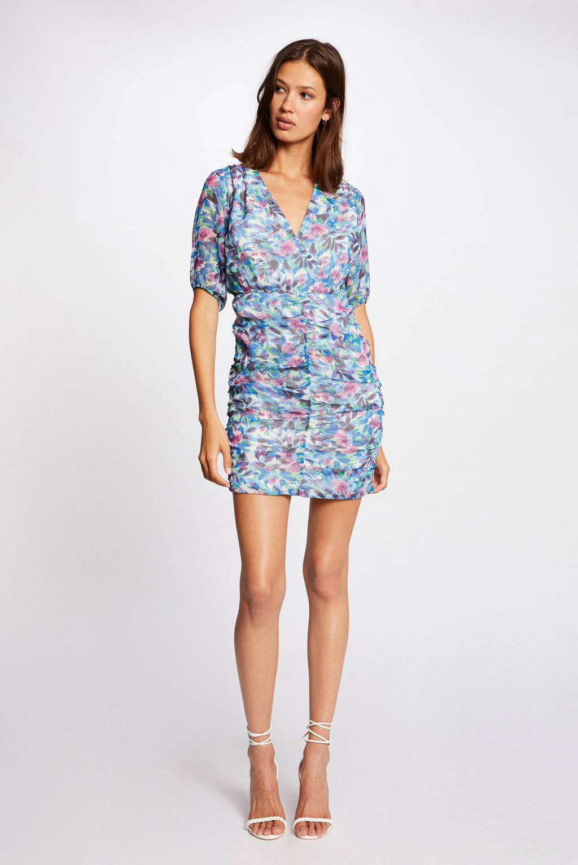 Morgan gebloemde semi-transparante jurk lichtblauw/roze/wit, Lichtblauw/roze/wit