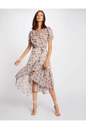 jurk met all over print en volant ecru/rood