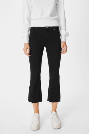 cropped high waist flared broek zwart
