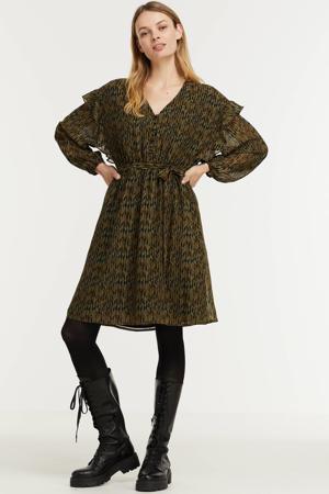 jurk Evie van gerecycled polyester zwart/ groen