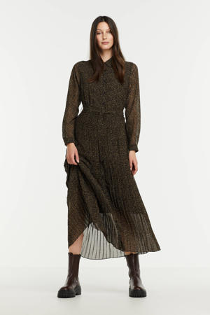 maxi blousejurk Charlotte van gerecycled polyester zwart/ groen