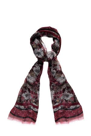 sjaal met bloemenprint rood